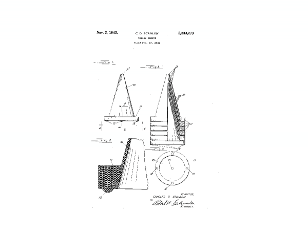 The first patent design for a rubber cone