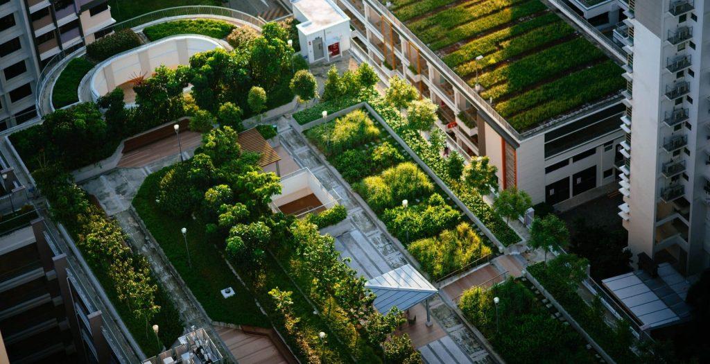 Vista aérea a una ciudad verde