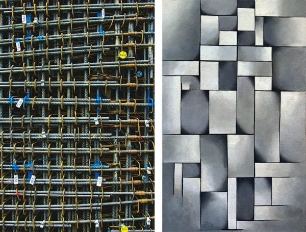 Reinforcement grid in one of the Tokamak walls and Theo van Doesburg's Composition in Gray