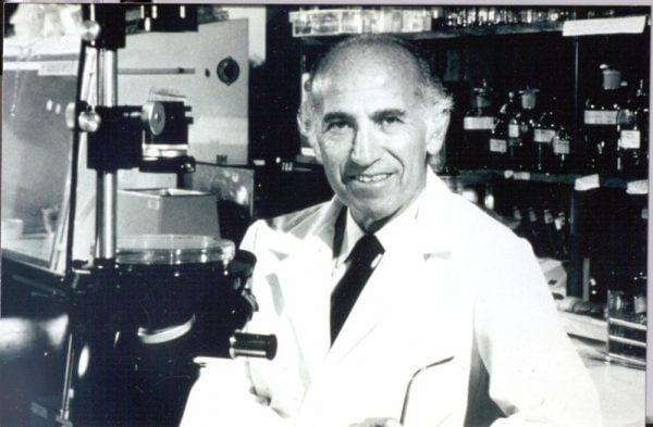 Jonas Salk in his lab.
