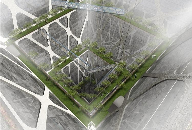 Proyección del Earthscrapper, con numerosos pisos y espacios verdes bajo el suelo.