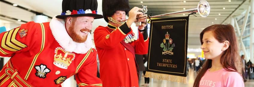 The British State Trumpeters at Heathrow during the royal wedding