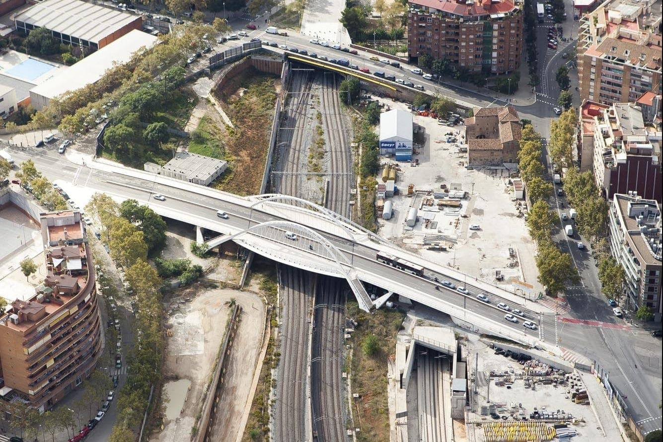 An aerial view of the La Sagrera Station in Barcelona