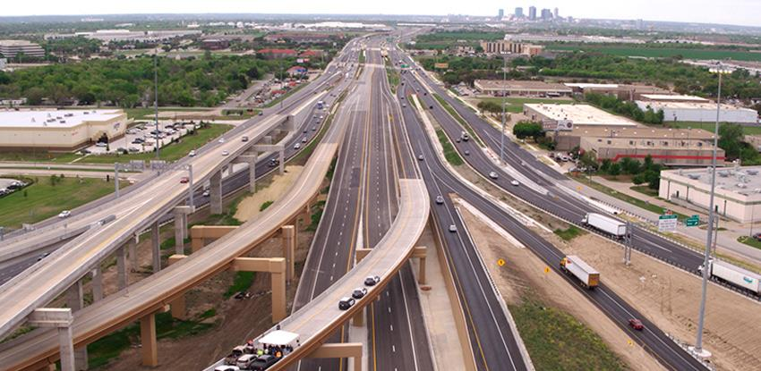 An aerial photograph shows a section of the North Tarrant Express