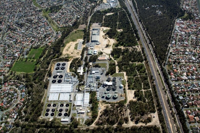 An aerial view of the Beenyup wastewater treatment plant in Australia