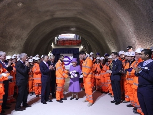 The Queen visits the Crossrail construction project