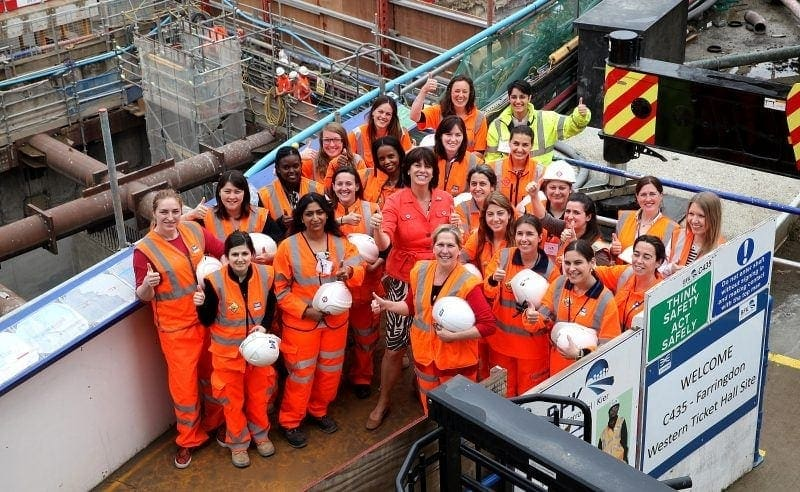 Women engineers working on London's infrastructure projects met Rail Minister Claire Perry MP at Crossrail's Farringdon site