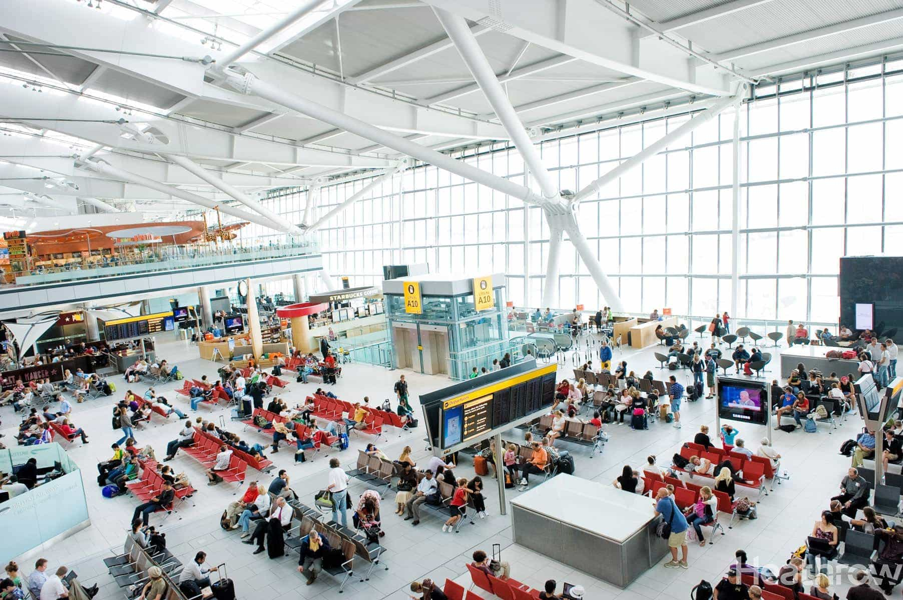Ferrovial news Heathrow Airport, Terminal 5A, airside, departure lounge,