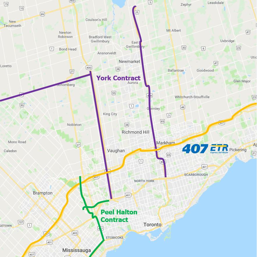 Las carreteras incluidas en los contratos se encuentran en las inmediaciones de la autopista 407 ETR, que opera Cintra.