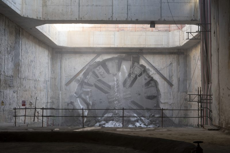 tunnel boring machine breaks through