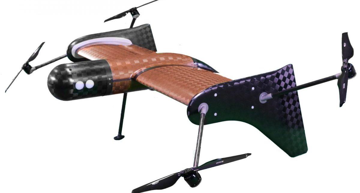 Foto de un dron marrón y negro