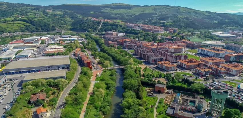 Aerial photo of the city of Etxebarri