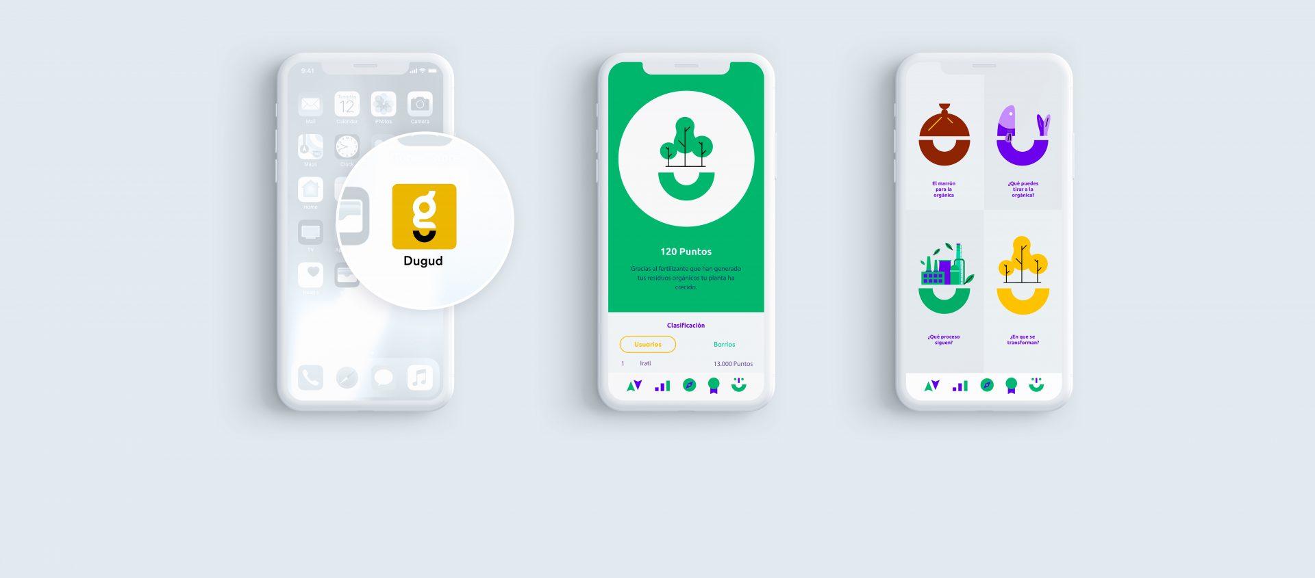 Imagen de 3 teléfonos móviles con la app Dugud