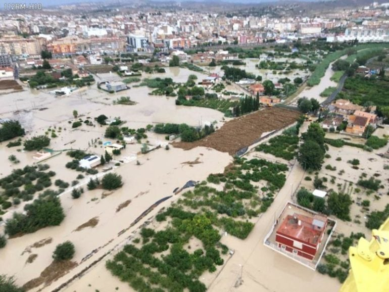 Imagen aerea de una población afectada por el fenómeno atmosferico DANA