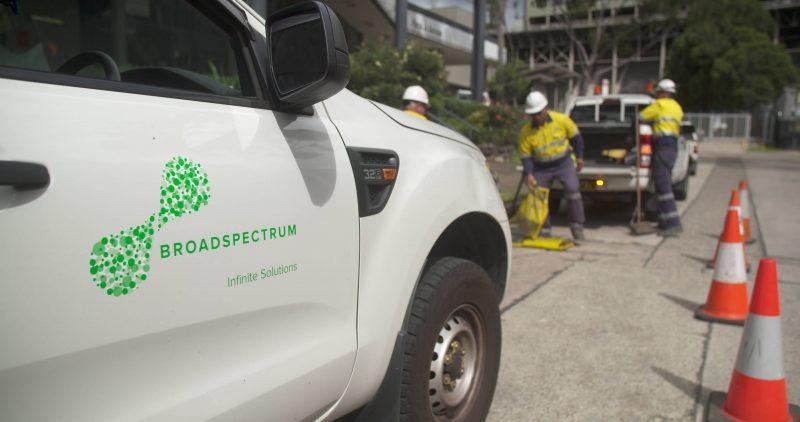 Broadspectrum white van road workers