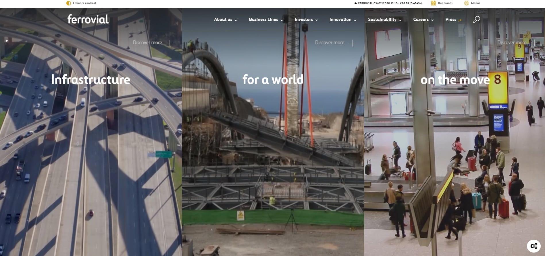new header ferrovial website