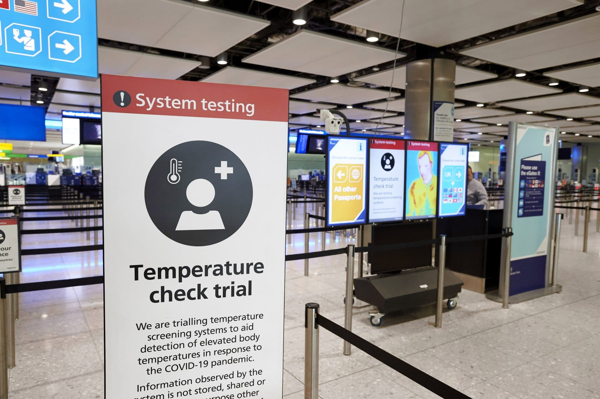 Temperature check poster airport passengers